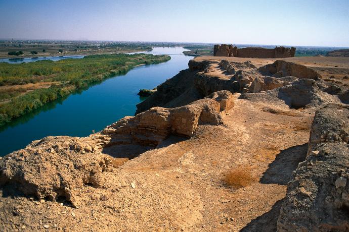 Ruinen der römischen Festungsstadt Dura Europos am Euphrat, Syrien